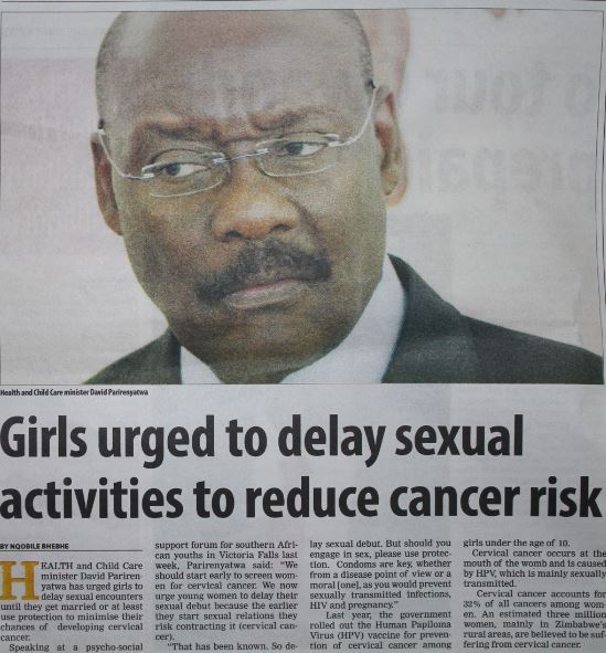 Girls urged to delay sexual activities to reduce cancer risk
